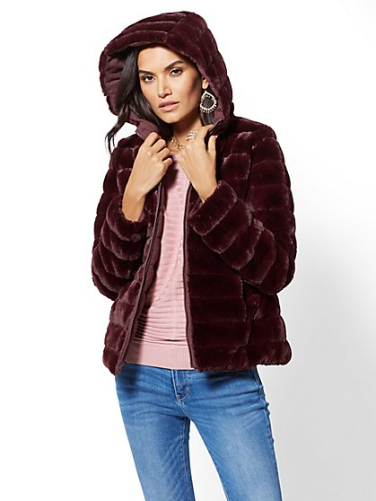 Reversible Quilted Faux-Fur Hooded Coat - New York & Company