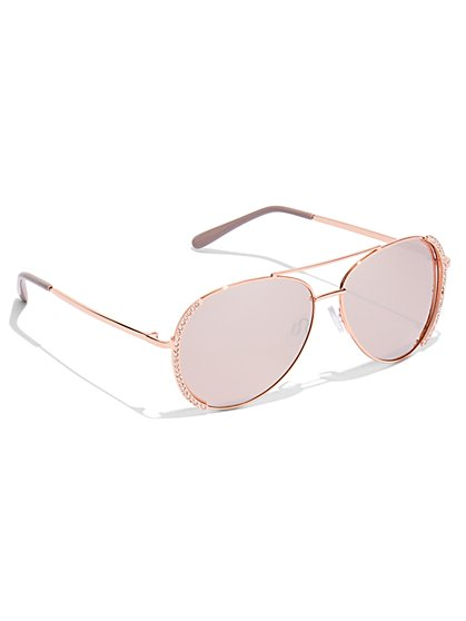 Rhinestone Aviator Sunglasses - New York & Company
