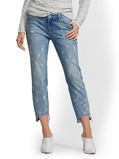 be1f606d6e Rhinestone Curvy Boyfriend Jeans - Wintry Blue - Soho Jeans - New York &  Company ...