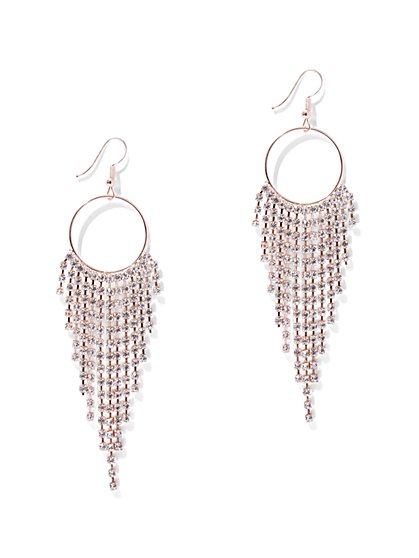 Rhinestone Fringe Hoop Drop Earring - New York & Company