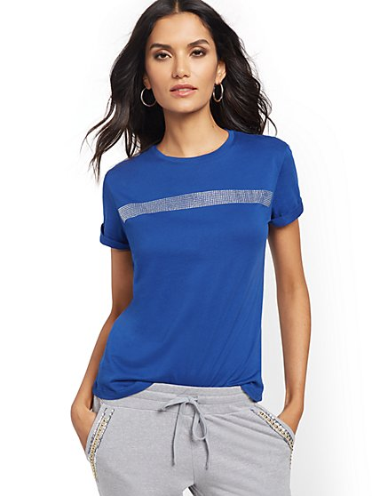 Rhinestone-Stripe Tee - New York & Company