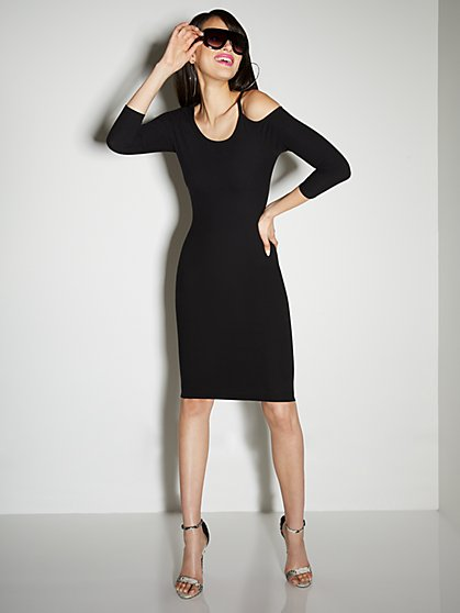 Ribbed 3/4-Sleeve Cutout Dress - Everyday Collection - New York & Company