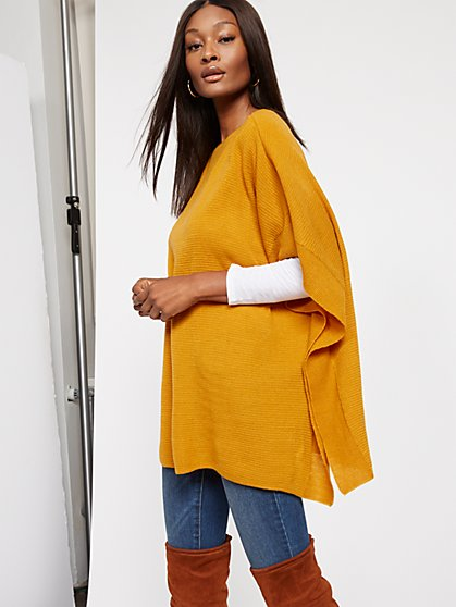 Ribbed-Knit Poncho - New York & Company
