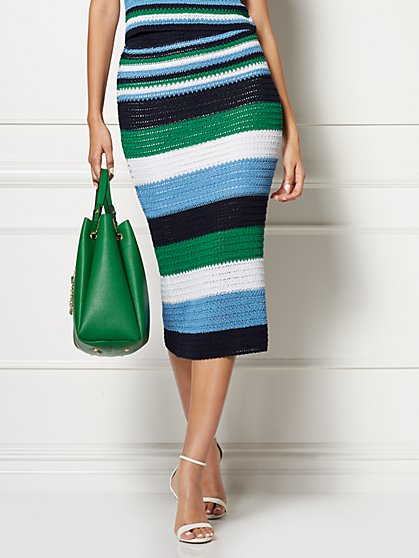 Rina Stripe Sweater Skirt - Eva Mendes Collection - New York & Company