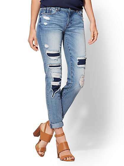 Rip & Repair Boyfriend Jeans - Indigo Blue - Soho Jeans - New York & Company