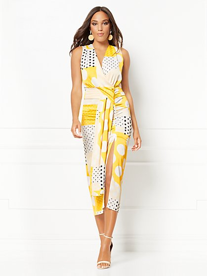 Roberta Dot-Print Ruched Wrap Dress - Eva Mendes Collection - New York & Company