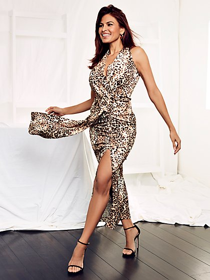 Roberta Leopard Ruched Wrap Dress - Eva Mendes Collection - New York & Company