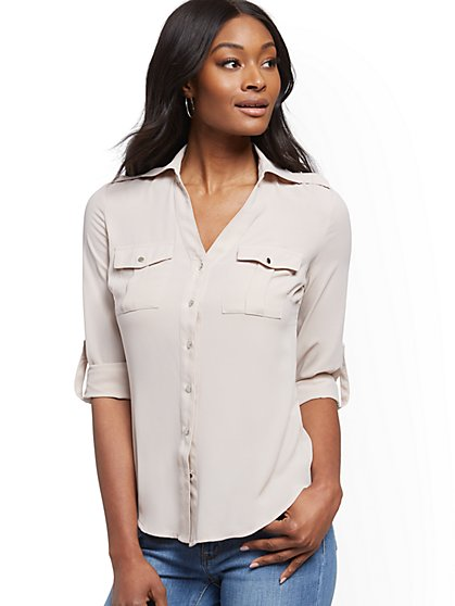 Roll-Tab Utility Shirt - New York & Company