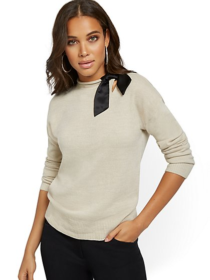 Rollneck Sweater with Ribbon Bow - New York & Company