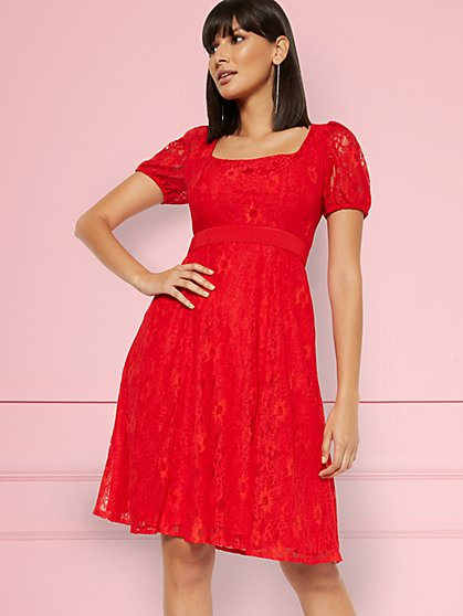 Rosalita Lace Fit and Flare Dress - Eva Mendes Party Collection - New York & Company