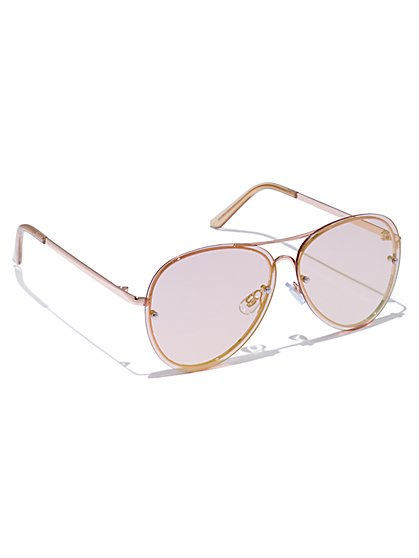 Rose Goldtone Aviator Sunglasses - New York & Company