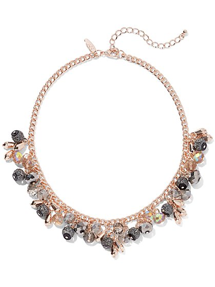 Rose Goldtone Beaded Collar Necklace - New York & Company