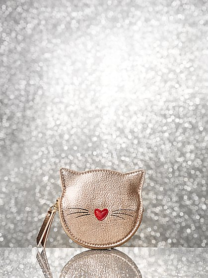 Rose Goldtone Cat Coin Purse - New York & Company