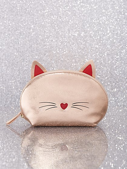 Rose Goldtone Cat Cosmetic Bag - New York & Company