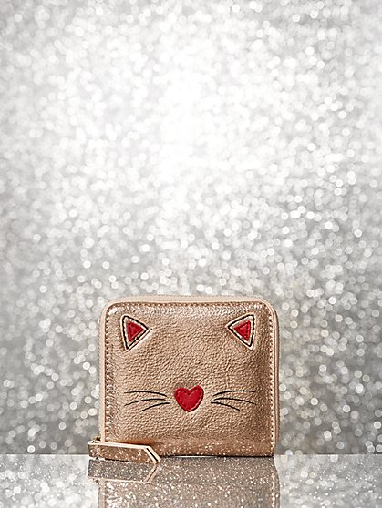 Rose Goldtone Cat Wallet - New York & Company