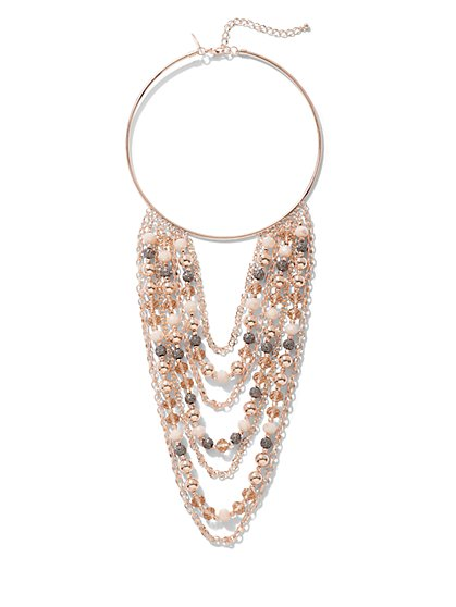 Rose Goldtone Collar Statement Necklace - New York & Company