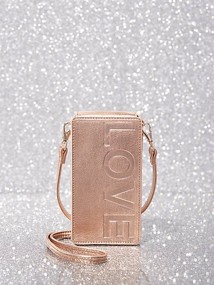 Rose Goldtone Faux-Leather Smartphone Crossbody Bag - New York & Company