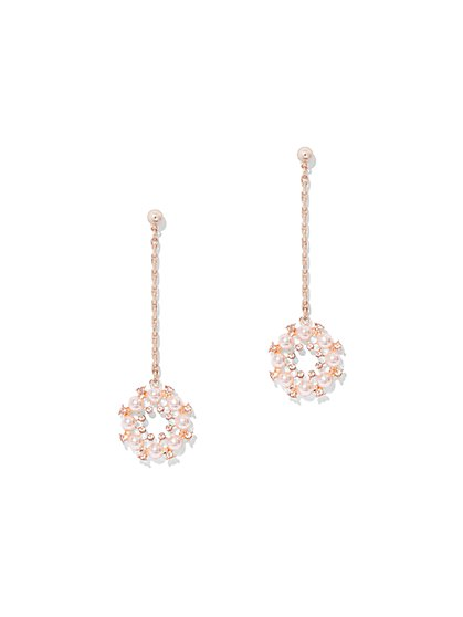 Rose Goldtone Faux-Pearl Drop Earring - New York & Company
