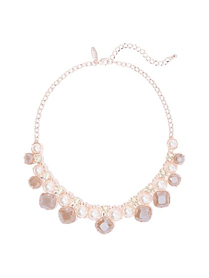 Rose Goldtone Faux-Pearl & Faux-Stone Statement Necklace - New York & Company