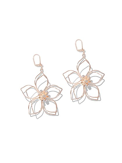 Rose Goldtone Floral Drop Earring - New York & Company