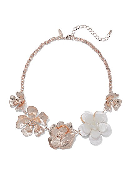 Rose Goldtone Floral Necklace - New York & Company