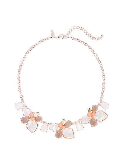 Rose Goldtone Floral Statement Necklace - New York & Company