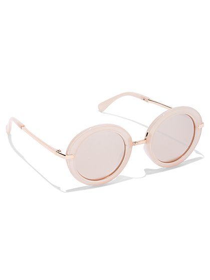 Rose Goldtone Hardware-Accent Round Sunglasses - New York & Company