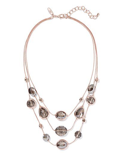 Rose Goldtone Illusion Necklace - New York & Company