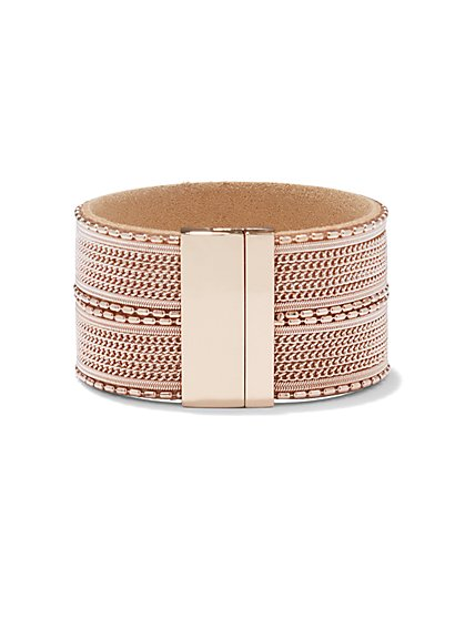 Rose Goldtone Link Cuff Bracelet - New York & Company