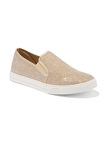 Rose Goldtone Slip-On Sneaker - New York & Company