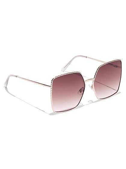 Rose Goldtone Square-Frame Sunglasses - New York & Company