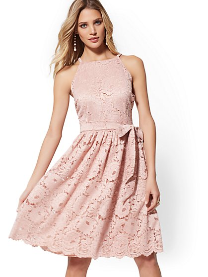 Rose Lace Halter Flare Dress - New York & Company