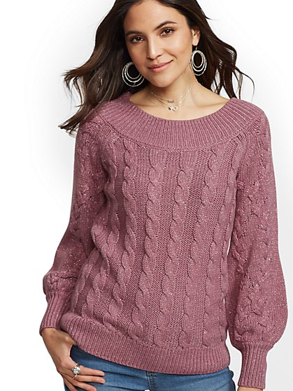Rose Metallic Off-The-Shoulder Sweater - New York & Company