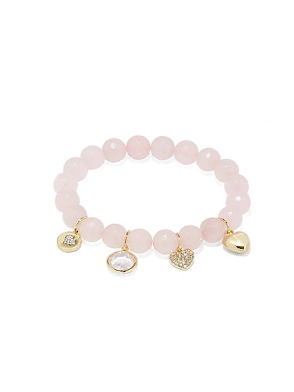 Rose Quartz Stretch Charm Bracelet - New York & Company