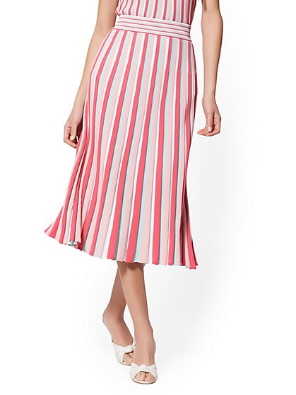 Rose Stripe Pleated Sweater Skirt - 7th Avenue - New York & Company