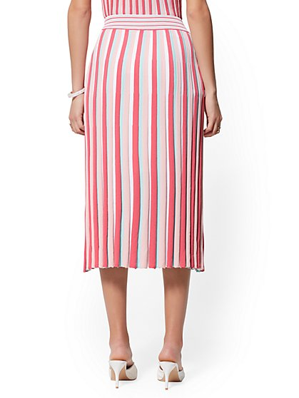 6e6e16a1f81c ... Rose Stripe Pleated Sweater Skirt - 7th Avenue - New York & Company