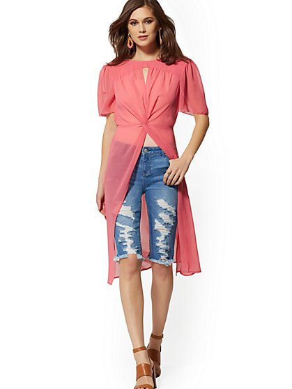 Rose Twist-Front Maxi Blouse - New York & Company