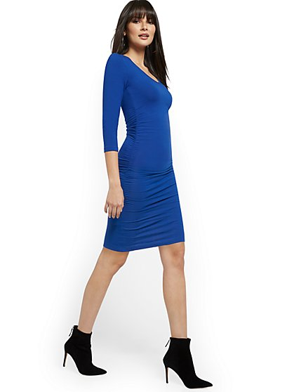 Rouched V-Neck Midi Dress - Everyday Collection - New York & Company