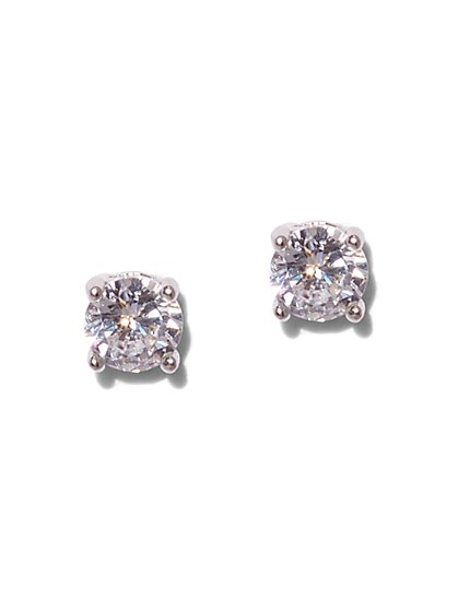Round Cubic Zirconia Sterling Silver Post Earring - New York & Company