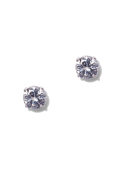 Round-Cut Cubic Zirconia Sterling Silver Post Earring - New York & Company