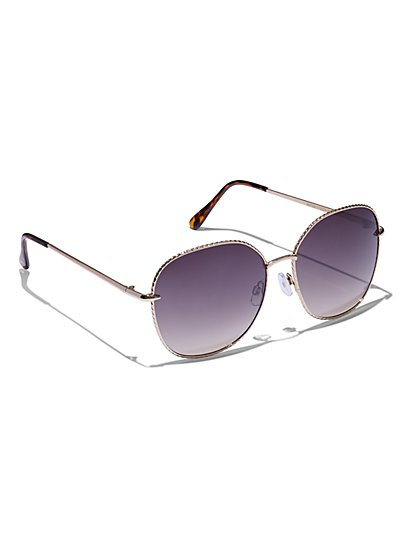 Rounded Goldtone Sunglasses - New York & Company