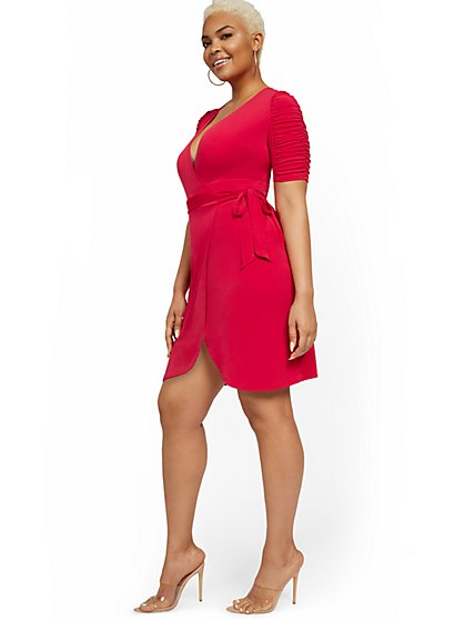 Ruche-Sleeve Wrap Dress - NY&C Style System - New York & Company