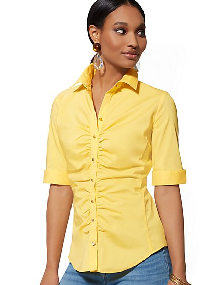 Ruched Madison Stretch Shirt - 7th Avenue - New York & Company