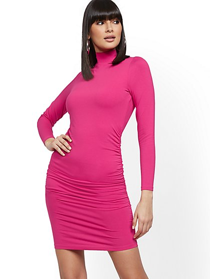Ruched Mock-Neck Dress - Soho Street - New York & Company