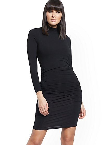 Ruched Mock-Neck Dress - New York & Company