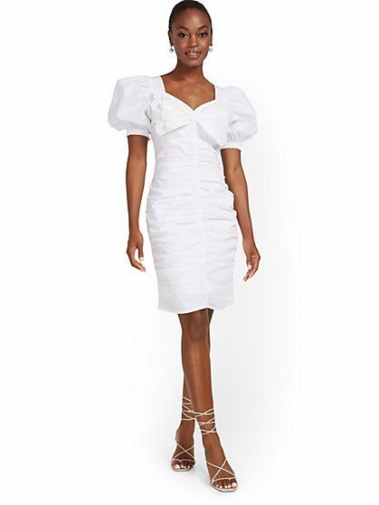 Ruched Puff-Sleeve Dress - New York & Company