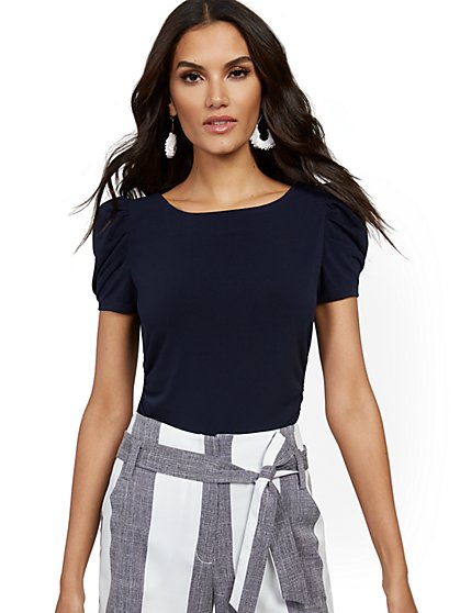 Ruched Puff-Sleeve Top - 7th Avenue - New York & Company