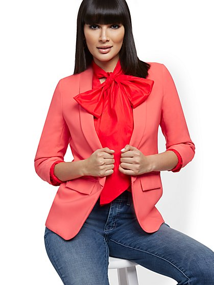 Ruched-Sleeve Soft Jacket - 7th Avenue - New York & Company
