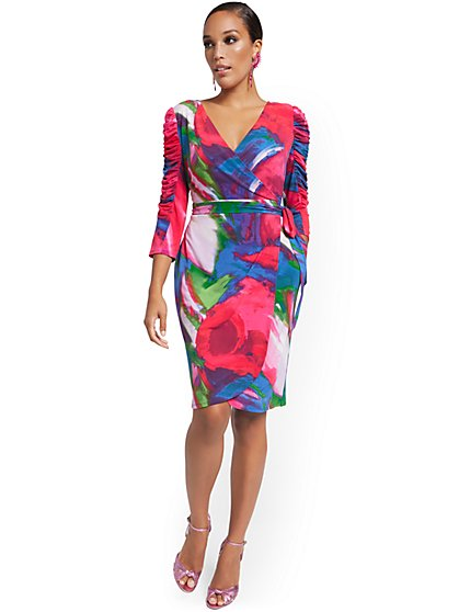 Ruched-Sleeve Wrap Dress - Abstract Watercolor Print - New York & Company