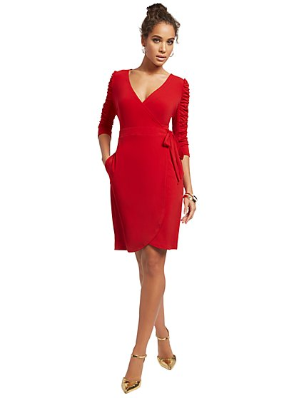 Ruched-Sleeve Wrap Dress - New York & Company